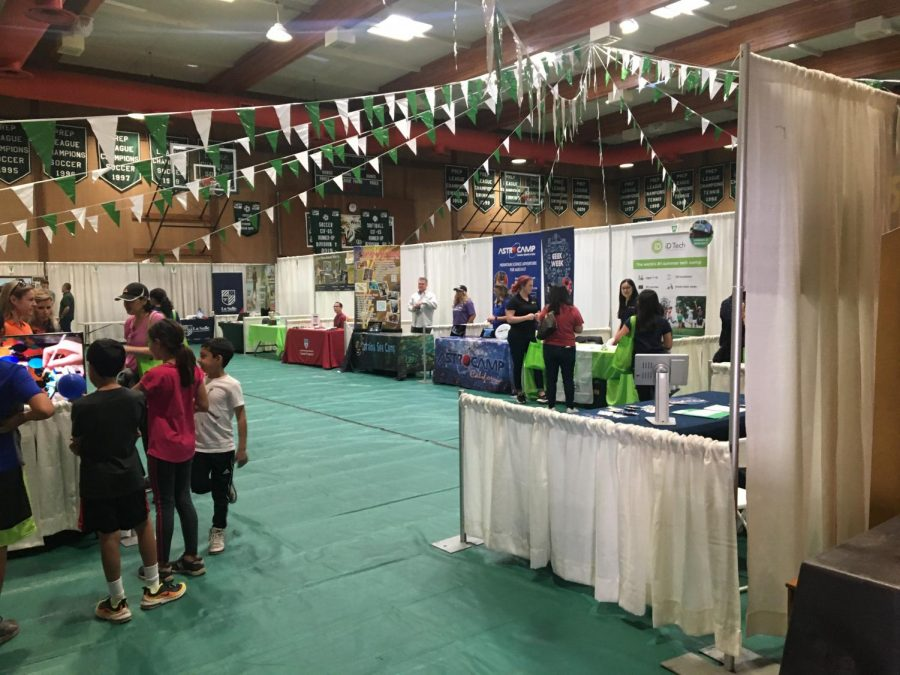 The gym full of booths advertising their camps