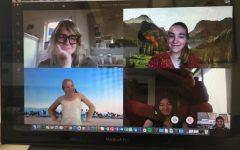 Molly Yurchak, Upper School English Teacher (top left), Hadley P. '21 (top right), Davan D. '21 (bottom left), and Shirlynn C. '21 (bottom right) participate in an online English III discussion dressed up for a prom theme.