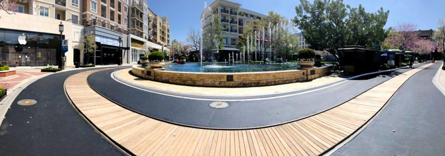 """At the center of The Grove in Los Angeles, shoppers and pedestrians are absent from the popular """"Dancing Fountain."""""""