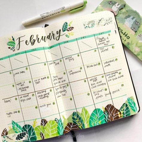 "Evelyn's February spread in her bullet journal, or as she likes to call it her ""bujo""."
