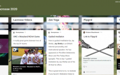 Each sport has its own Padlet. This lacrosse Padlet has links to lacrosse games, workouts, and yoga classes for all athletes to review and experiment with.
