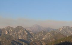 Smoke from the Bobcat fire hangs over the San Gabriel Mountains