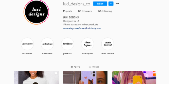 LuciDesignsCo's Instagram, where she advertises some of her products.