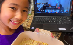 Taylor T. '28 with her Mac n Cheese while in the activity.