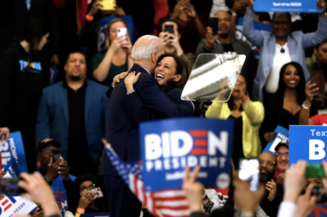 Kamala Harris endorses Joe Biden at one of his campaign rallies on March 9.