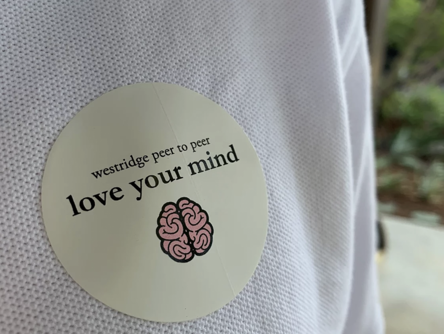 Before town meeting started, Peer to Peer handed out stickers to show support for Love Your Mind Week.