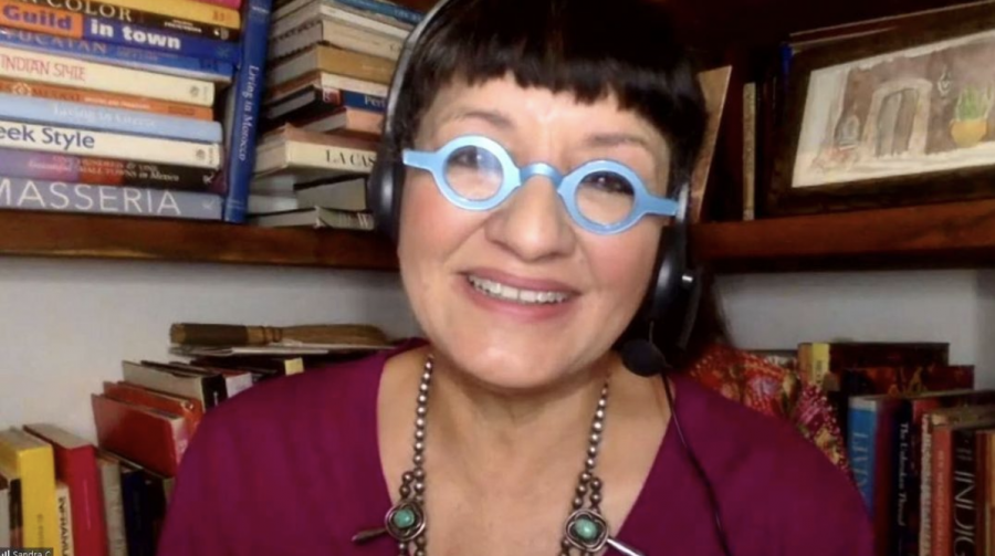 Sandra Cisneros calling in from San Miguel de Allende, Mexico.