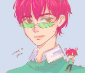 A fan-drawn picture of Saiki K. from the anime