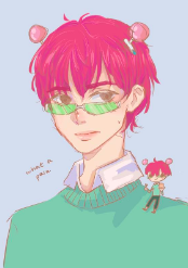 "A fan-drawn picture of Saiki K. from the anime ""The Disastrous Life of Saiki K."""