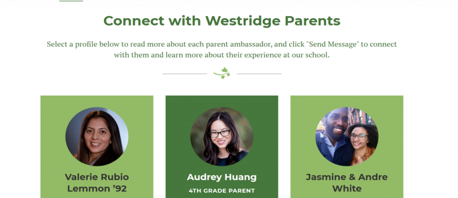 Some of Westridge's parent ambassadors with whom prospective families can connect.