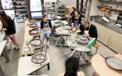 Juanita working on the wheel in the Ceramics Studio.