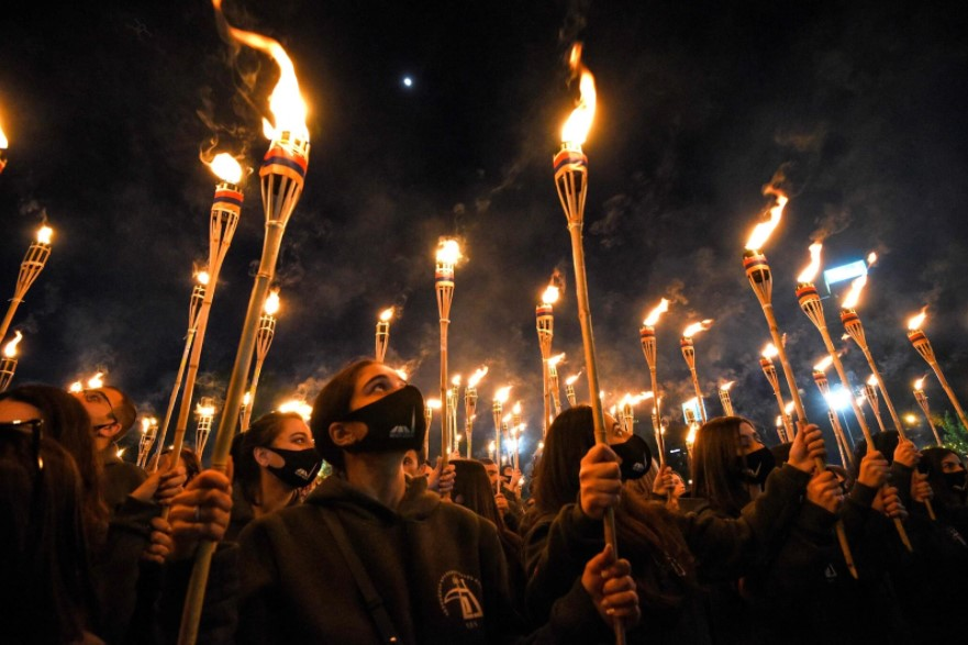 A torchlight march in Yerevan, the capital of Armenia, to mark the 106th anniversary of the Armenian Genocide.