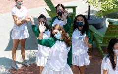 As part of Westridges protocol, Westridge students wearing masks on Convocation. (@westridgeschool)